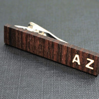 Personalizable TIE CLIP - Fine Rosewood with custom bone inlay initials.