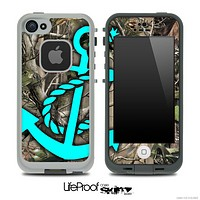 Real Camouflage and Turquoise Anchor Skin for the iPhone 5 or 4/4s LifeProof Case