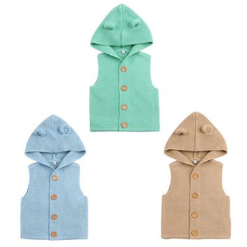 Baby Boys Girl Knitting Vest Fashion Kids Sweaters Cute Ears Hooded Vest Newborn Crochet Vest Outfit Infant Clothing
