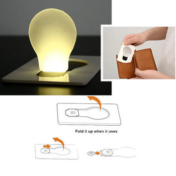 New Design Portable LED Card Pocket Light bulb Lamp Wallet Size NVIE