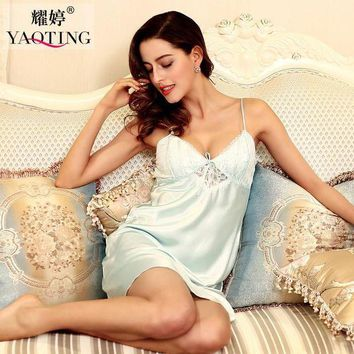CREYCI7 New Summer Sexy lingeire Ladies women Satin Lace Strappy Nightdress Nightie Nightgown Chemise