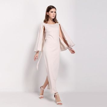 Fashion slim sexy solid color cloak sleeve backless  slits woman's Casual long dress