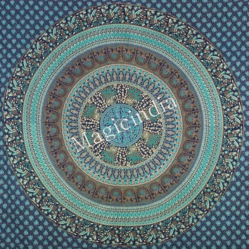 Stunning Blue Mandala Tapestries, Queen Ethnic Wall Tapestries, Indian Bohemian Mandala Tapestry Throw Coverlet , Hippie Wall Decor Throw
