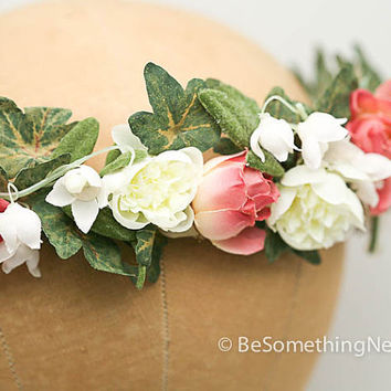 Flower wedding crown in pink and ivory, woodland wedding hair, garden wedding accessory