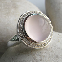 Pink Quartz Rose Gold Ring- Rose Quartz Engagement Ring- Handmade Halo Unique Ring- 17mm Simple Ring- Promise Wedding and Engagement
