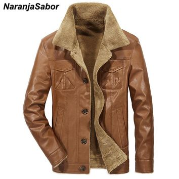 NaranjaSabor Winter 2018 New Men's Leather Jacket Casual PU Coats Thermal Outerwear Male Fleece Jackets Mens Brand Clothing 4XL