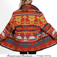 Vintage 80s Southwest Native Indian Blanket Coat Boho Shawl Collar Wool Cape Jacket