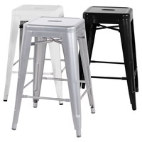 Chintaly Tremont 30 in. Galvanized Steel Backless Bar Stools - Set of 4 | www.hayneedle.com