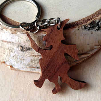 Wooden Witch Keychain, Walnut Wood, Wooden Halloween Keychain, Environmental Friendly Green materials