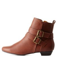 Tan Double-Belted Flat Ankle Booties by Charlotte Russe