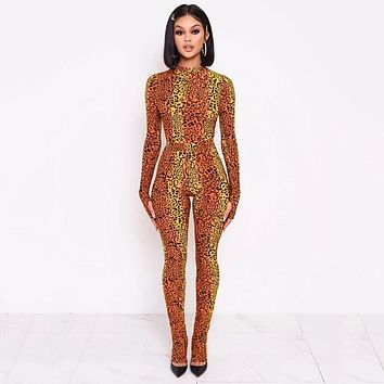 Women Fashion Sexy Leopard Print Multi-Color Jumpsuit