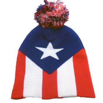 Puerto Rico Flag Adult Knit Beanie Cap with Pom