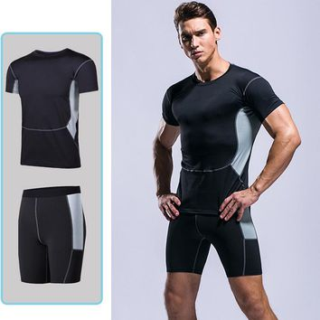 Sport Suit Men 2 Pieces Summer Sport Suits Men Compression Suits Training Clothes Gym Shirt Wight Lift Shorts Fitness Sports Set