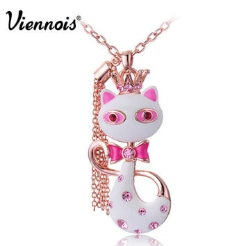 Viennois Lovely White/Red Resin Crown Cat Animal Crystal Long Necklace Pendant Chain new  For Women