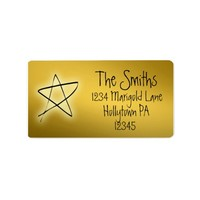 Gold Holiday Address Labels with Handwritten Look