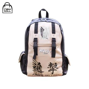 Cool Attack on Titan Newtall New Fashion Anime  No  Scouting Shoulder Bag School Bookbag Man PU Backpack Women Laptop Bag Casual AT_90_11