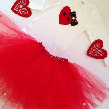 Valentine Onesuits with Tutu for Girls - Baby Tutu Set - Valentine Tutu Set - First Valentine Tutu