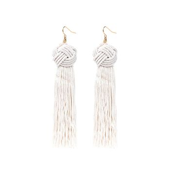 Vanessa Mooney Astrid Tassel Earrings - Ivory