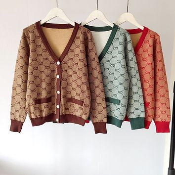GUCCI 2019 new large V-neck double G letter logo female pullover sweater