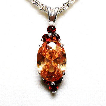 "Imperial topaz, imperial topaz pendant, topaz accent pendant, sun pendant,  red orange yellow, statement pendant pendant , ""Imperial Storm"""