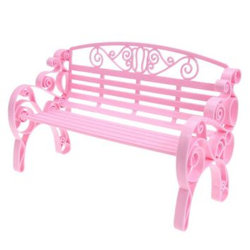 Miniature Dollhouse Furniture Accessories Outdoor Chair Park Bench for Barbie House Garden Play House Toys Garden Chair