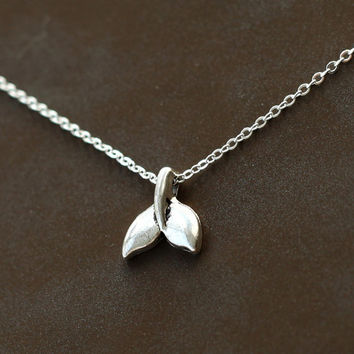 antique Silver Whale Tail Necklace, silver necklace, unisex jewelry, men jewelry, whale fluke, dolphin necklace, nautical necklace