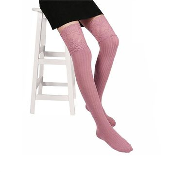 Sexy Thigh High Socks Comfortable Keen High Leg Stocking Lace-Decor for Women