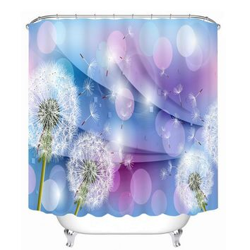 Hot Bathroom Products 3D Shower Curtains Modern Purple Dandelion Flowers Pattern Waterproof Washable Fabrics Bathroom Curtains