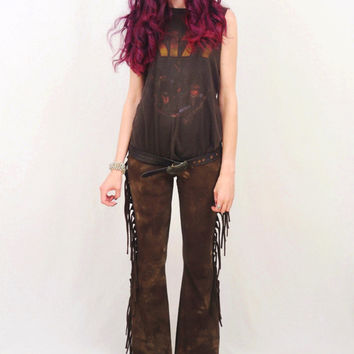 Fringe Bell Bottoms - Rocker Tie Dyed Bell Bottoms - High Waist Bellbottoms - Stretch Cotton Flares - Fringe Pants - Sizes XS, S, M, L, XL