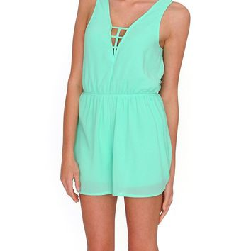 Stylish Spirit chiffon Romper - Green