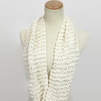 White Knit Scarf, Knit Cowl, Hand Knit Scarf, Infinity Scarf, Gift For Her, Circle, Scarf Winter Scarf, Women's Scarf