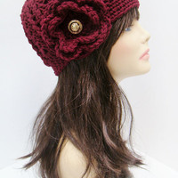 FREE SHIPPING - Crochet Flower Fitted Hat - Maroon, Dark Red with Gold Vintage Button
