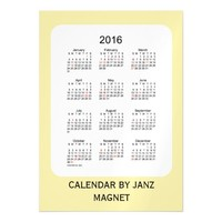 2016 Pale Goldenrod Calendar by Janz 5x7 Magnet Magnetic Invitations