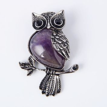 New Vintage Natural Stone Cute Owl Animal Pendants for Necklaces Amethysts Purple Quartz Bead Charm Women Reiki Jewellery gift