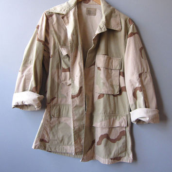 Vintage 90s Camo Military Jacket Shirt Desert Sand  Camouflage Small