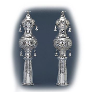 Sterling Silver Etched Rimmonim Torah Crowns