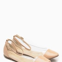Liliana Nude Pointed Toe Ankle Strap Vinyl Flats @ Cicihot Flats Shoes online store:Women's Casual Flats,Sexy Flats,Black Flats,White Flats,Women's Casual Shoes,Summer Shoes,Discount Flats,Cheap Flats,Spring Shoes