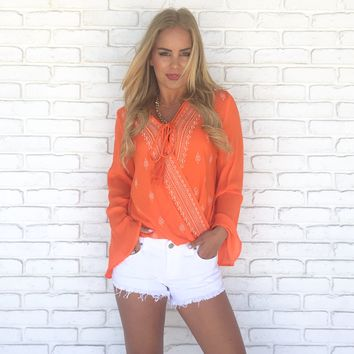 Boho Embroider Bell Sleeve Top in Orange