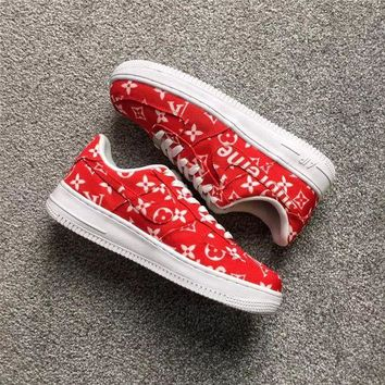Supreme x LV x Nike Air Force 1 AF1 Red Sneaker Shoe Size 36-45