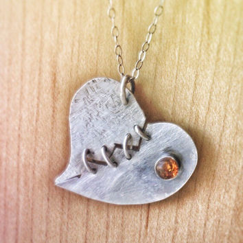 Mended Heart Necklace, Amber Necklace, Sterling Silver Jewelry, Romantic Jewellery, Heart Pendant, Broken Heart, Relationship Jewelry