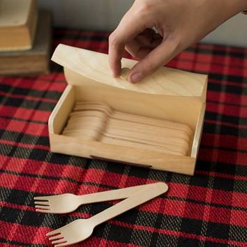 36 Wooden Forks With Wooden Box