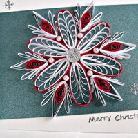 handmade paper quilled Christmas card – Merry Christmas snowflake