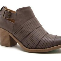 Taupe Faux Leather Strap Front Bootie