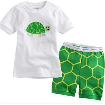 New summer arrival girls green turtle cartoon sleepwear kids cotton short sleeve clothing sets baby pijama night wear home