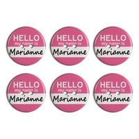 Marianne Hello My Name Is Plastic Resin Button Set of 6