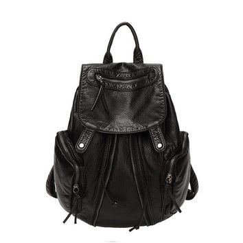 University College Backpack Fashion Black Women s for  Girls School Bags for Women 2018 Retro   wind bag soft leather AT_63_4