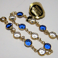 Bezel Set Austrian Crystal Bracelet, Blue and Clear Faceted Glass, Gold Tone Setting, Bridal Something Blue 917