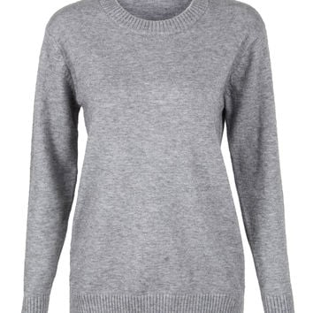 Grey Ribbed Trim Fluffy Knitted Sweater