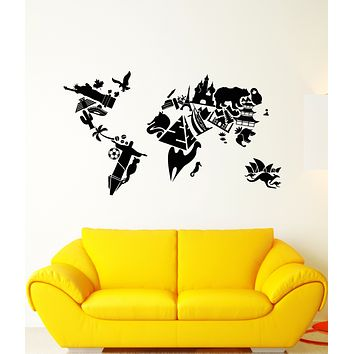 Vinyl Wall Decal Sights World Map Country Travels Stickers (3407ig)