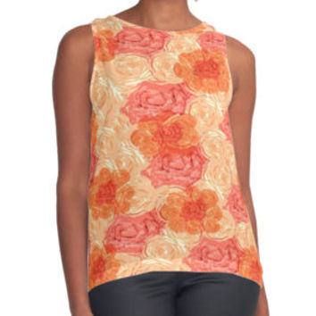 'Watercolor Roses' Contrast Tank by Dizzydot